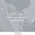 """Immagine di sfondo in grigio con domanda """"Che cos'è la divisione ereditaria contrattuale?"""""""